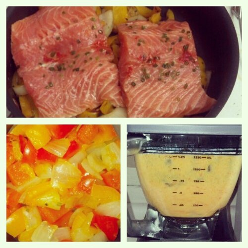 salmon with red pepper cream sauce
